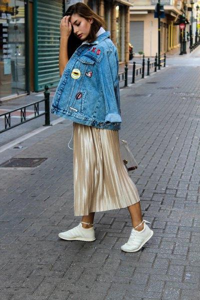 rose gold metallic skirt denim jacket