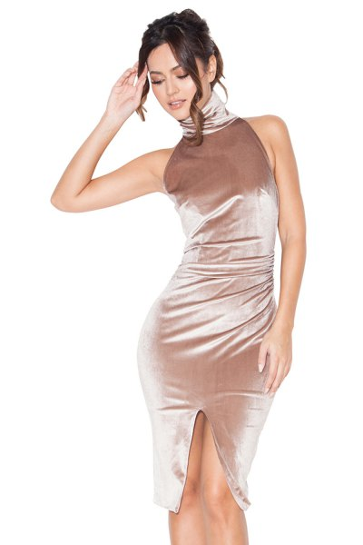 rose gold turtleneck sleeveless velvet bodycon dress