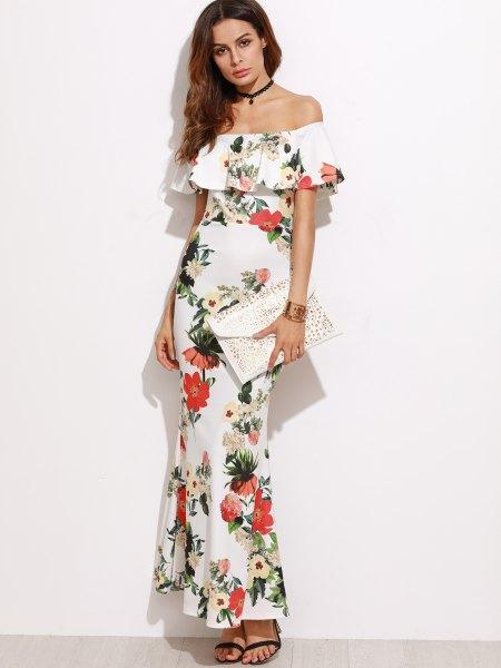 ruffle collar white floral sheath dress