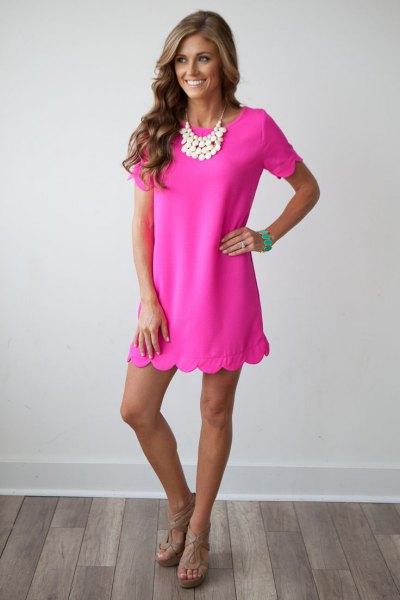scalloped hem neon pink shift dress