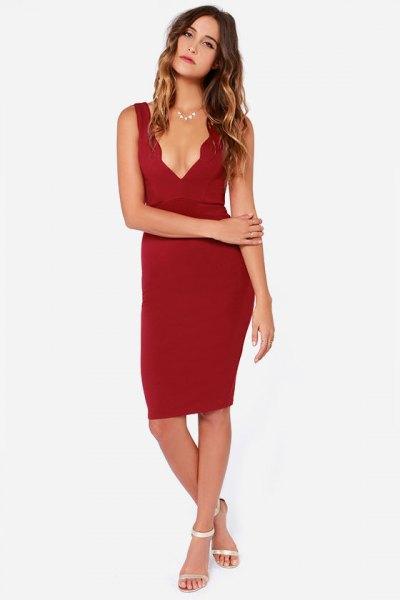 scalloped neckline deep v neck bodycon dress