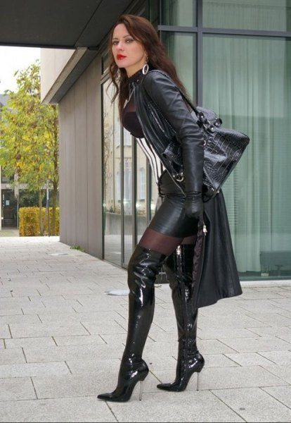 semi sheer black top mini leather skirt