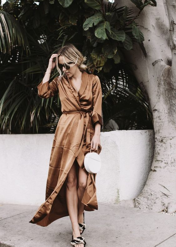 silk wrap dress brown