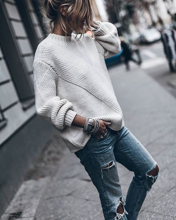silver cuff bracelet outfit white sweater