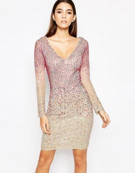 silver long sleeve bodycon dress