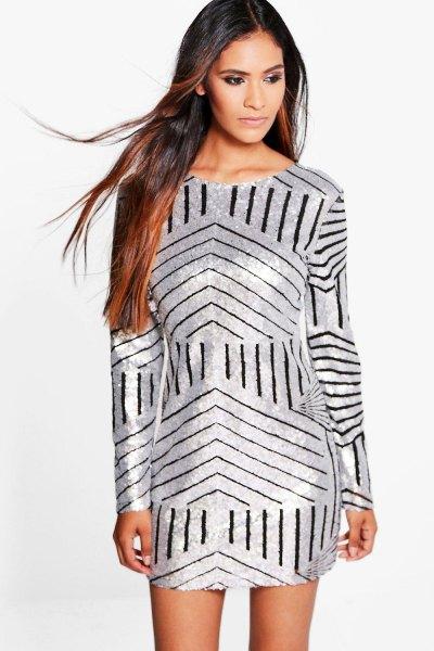 silver sheath dress black random stripes