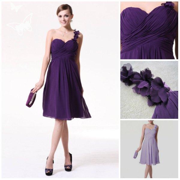 single strap purple empire waist bridesmaid dress