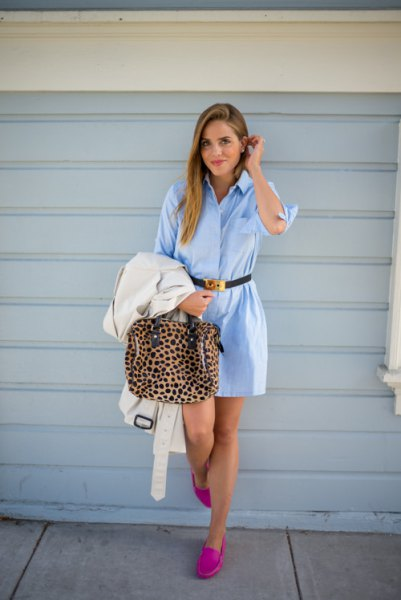 sky blue belted shirt dress pink loafers