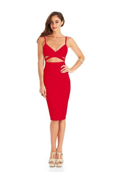 spaghetti strap cutout waist bodycon dress