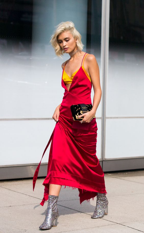 spaghetti strap dress red satin