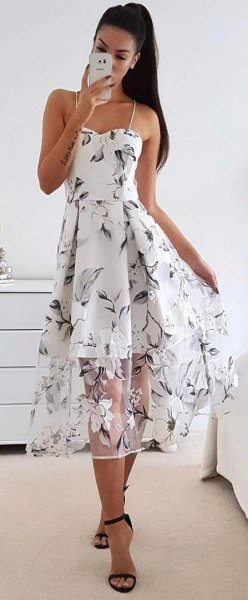 spaghetti strap floral flare dress sheer overlay