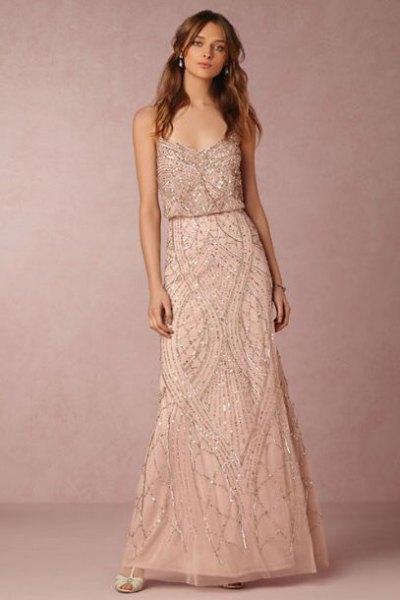 spaghetti strap rose gold gathered waist maxi dress