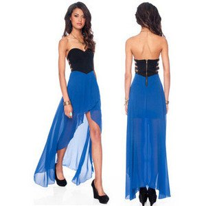 strapless black and royal blue high low dress