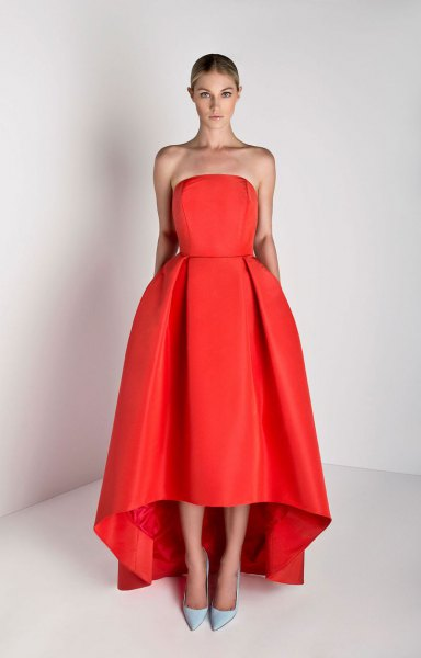 strapless red maxi flare high low dress