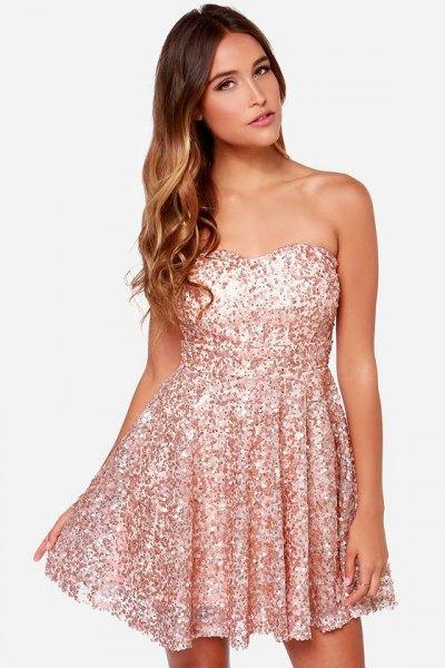 strapless rose gold sequin skater dress