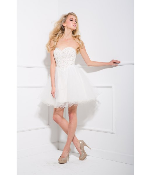 strapless white lace tulle dress pink heels
