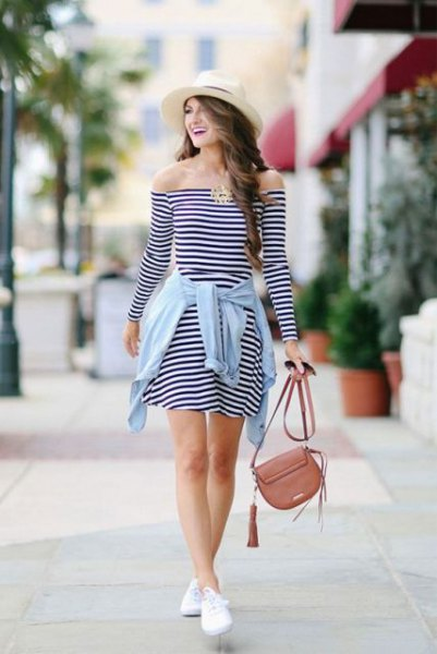 straw hat off shoulder long sleeve skater dress
