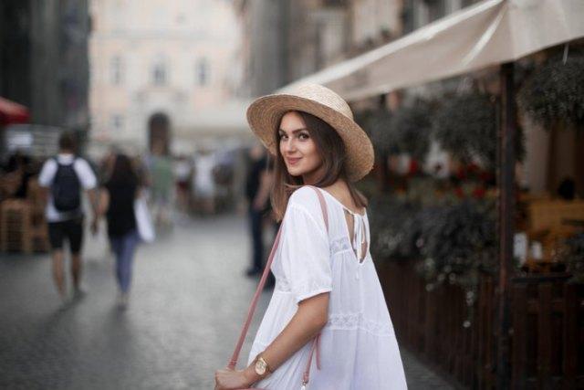 straw hat white boho babydoll dress