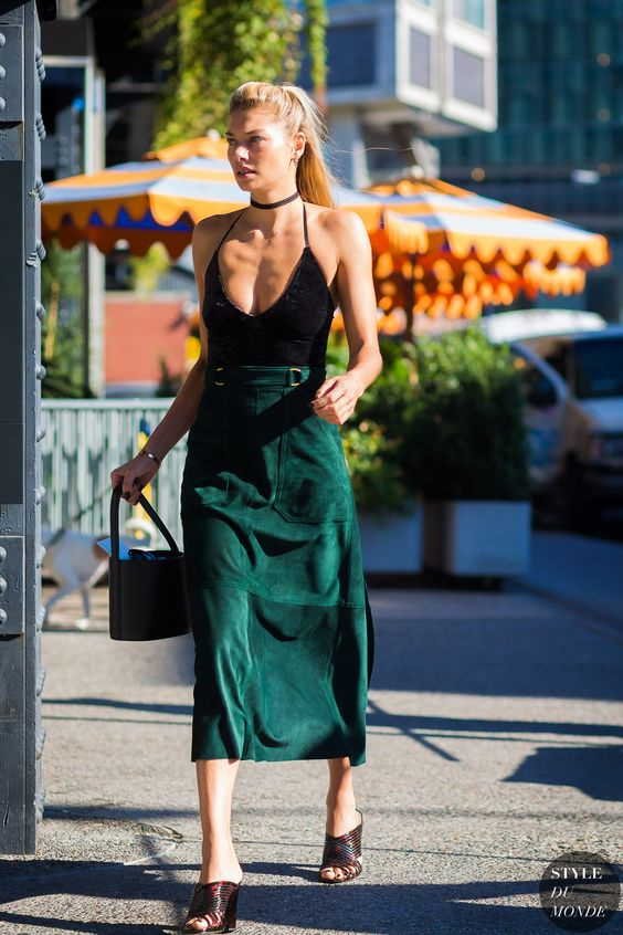 suede skirt green velvet
