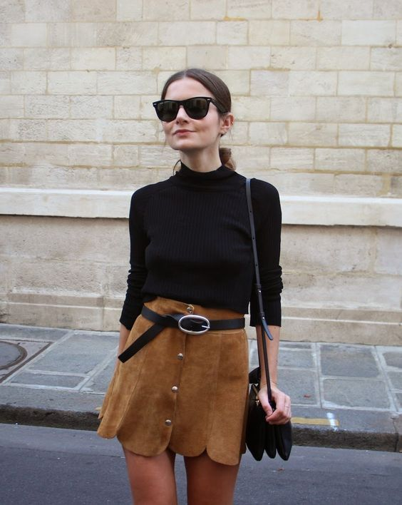 suede skirt retro