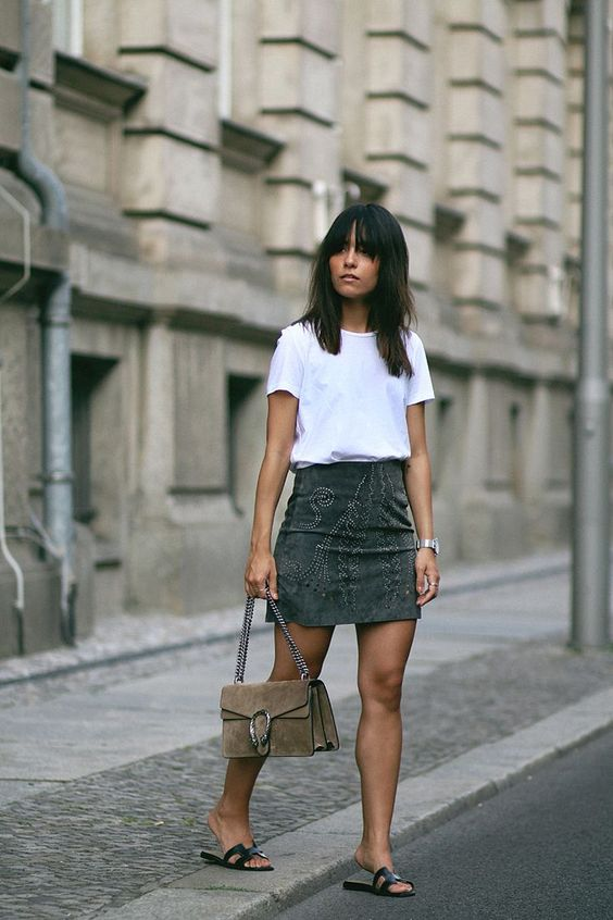 suede skirt studded