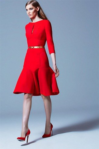 three quarter red fit and flare belted dress