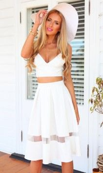 two piece white deep v neck mesh skater dress