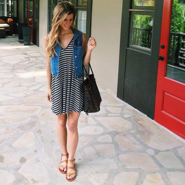 v neck black and white striped t shirt dress