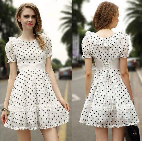 white and black polka dot baby doll dress