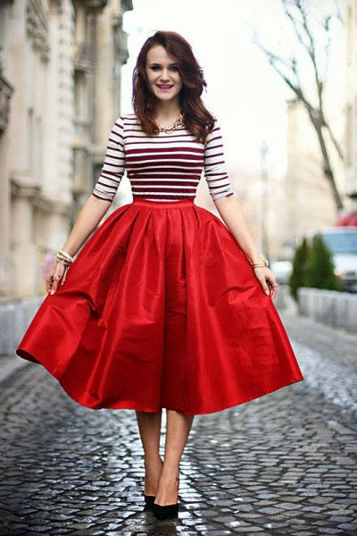 white and black striped top red midi flare skirt
