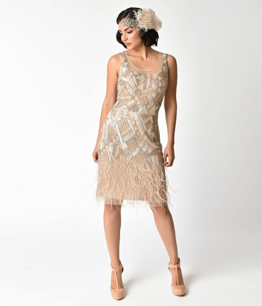 white and gold beaded fringe dress