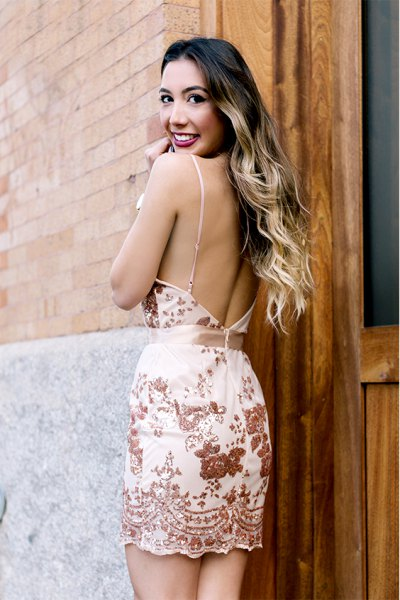 white and gold embroidered backless dress