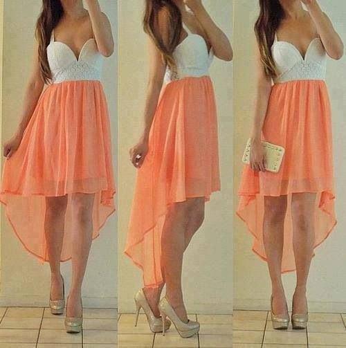 white and peach deep v neck chiffon dress