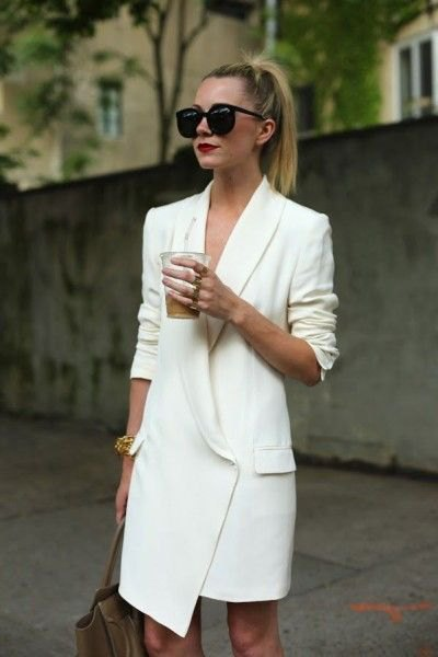 white asymmetric tuxedo dress