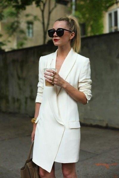 white asymmetric tuxedo dress