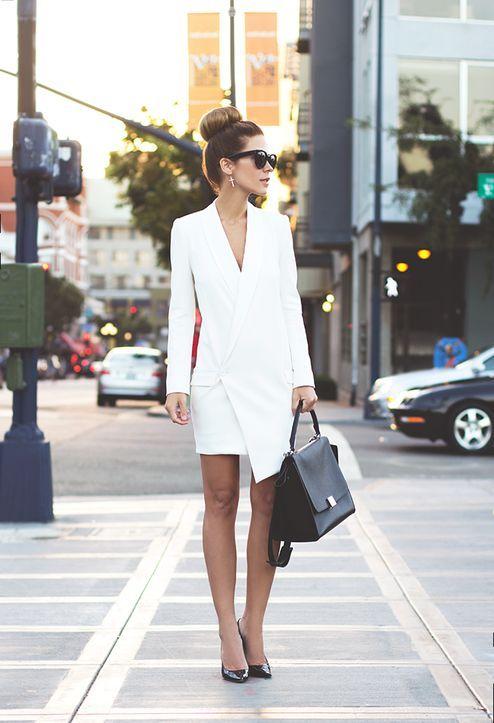 white blazer dress asymmetric