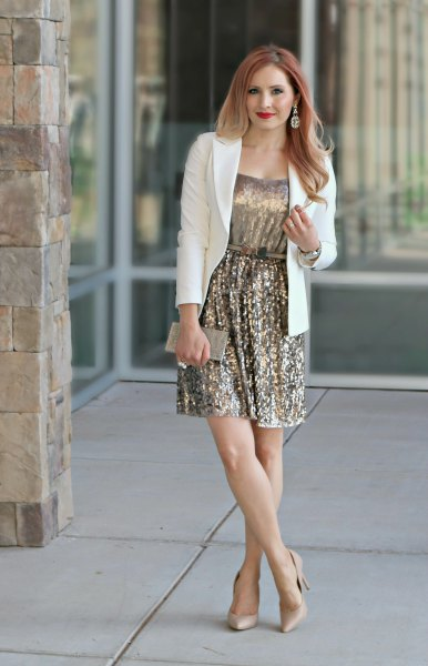 white blazer pale pink heels outfit