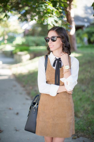 white blouse camel suede dress