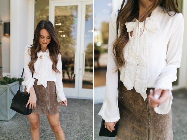 white bow blouse grey matte leather mini skirt