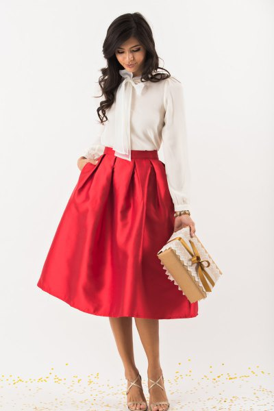 white bow chiffon blouse red midi flare skirt