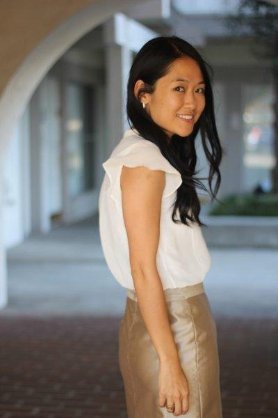 white chiffon blouse rose gold pencil skirt