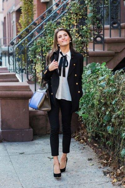 white chiffon bow blouse black blazer jeans