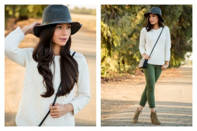 white chunky sweater black floppy hat