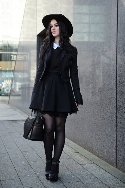 white collar black pleated dress blazer