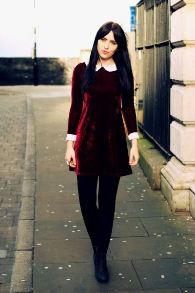 white collar burgundy skater dress