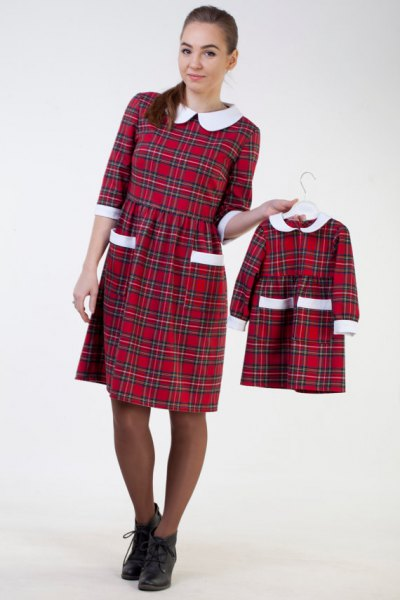 white collar red plaid gathered waist knee length dress