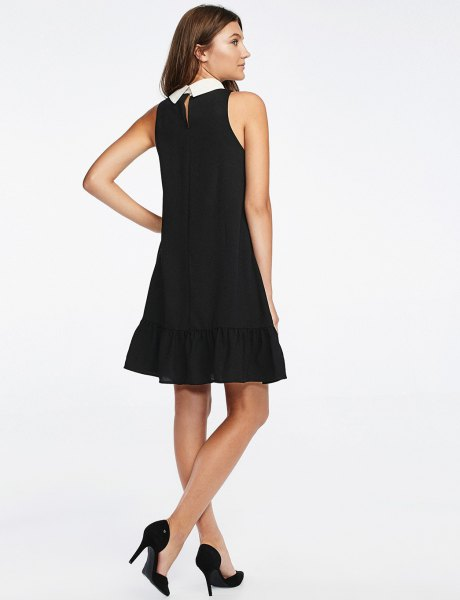 white collar sleeveless black skater dress