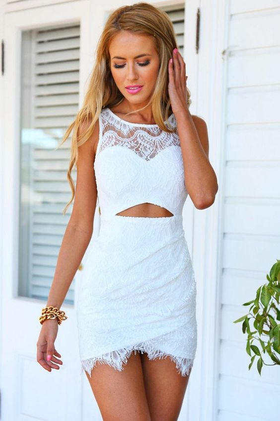 white cut out dress lace