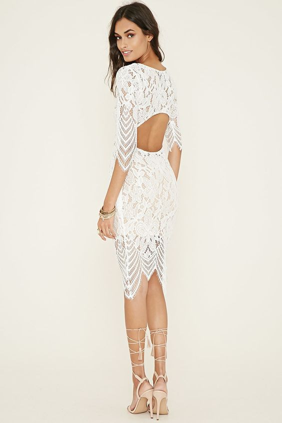 white cut out dress open back