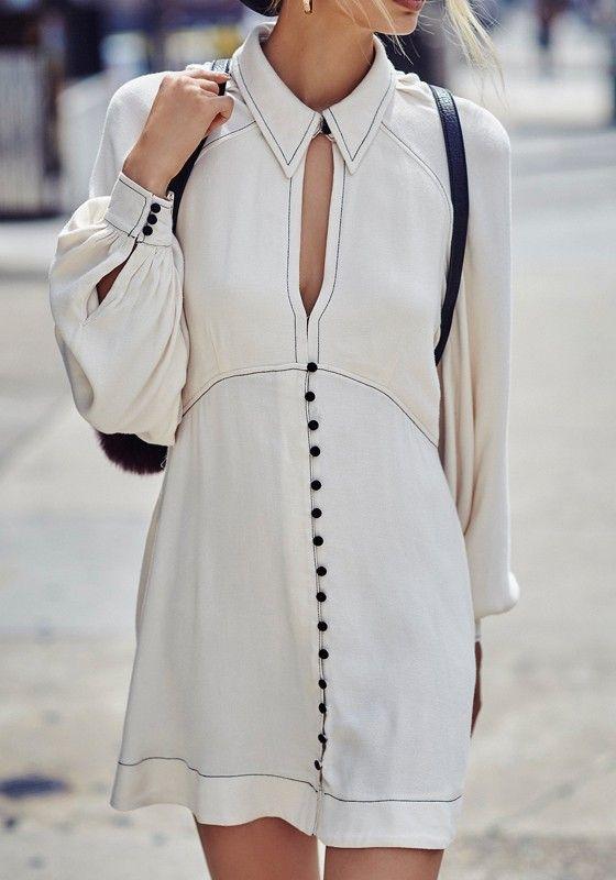white cut out dress retro